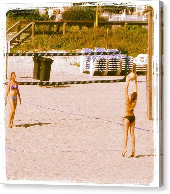 Bikini Canvas Print - #sand #vollyball #beachlife #cocoa by Michael Hughes