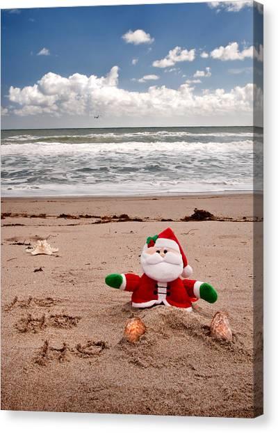 Santa At The Beach Canvas Print