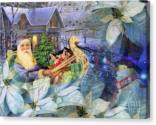 Santa In Blue Canvas Print