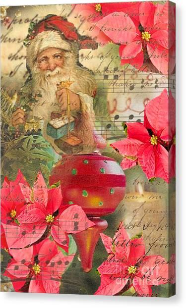 Santa In Ornaments Canvas Print