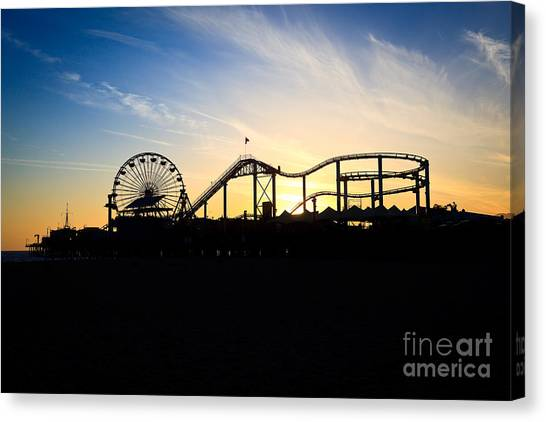 Santa Monica Pier Canvas Print - Santa Monica Pier Sunset Photo by Paul Velgos