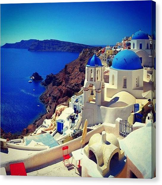 Greek Art Canvas Print - Santorini 2 by Carlos Macia Perez