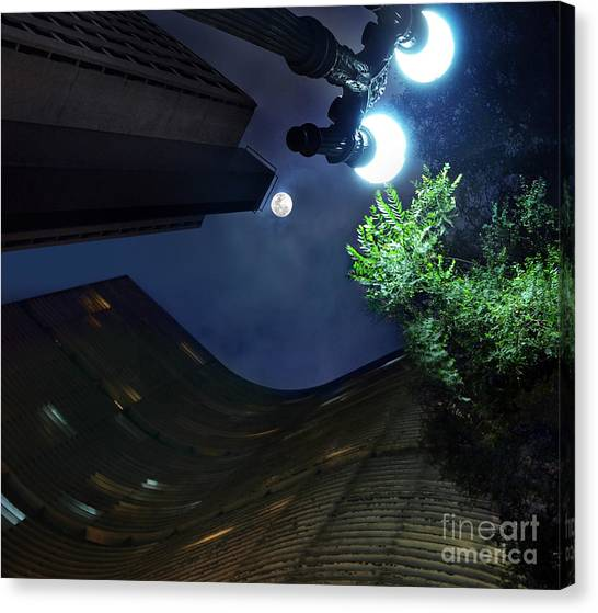 Copan Building And The Moonlight Canvas Print