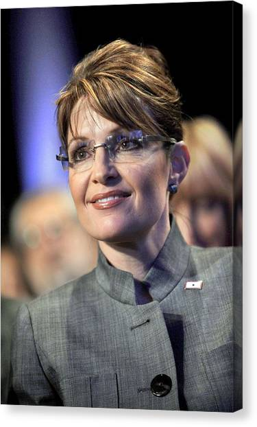 Republican Politicians Canvas Print - Sarah Palin In Attendance For Cgi - The by Everett