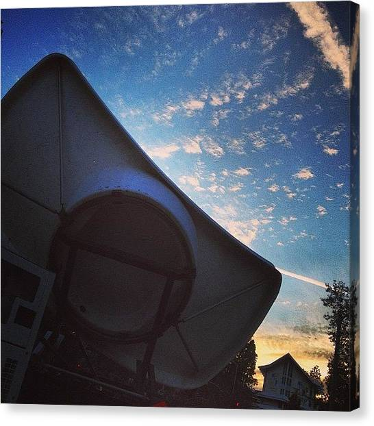 Ucla Canvas Print - #satellite #truck #sunset #sky #clouds by Brett Connors