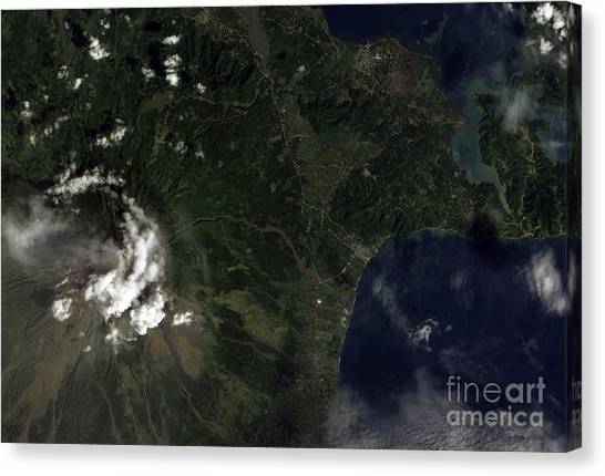 Mayon Canvas Print - Satellite View Of Mayon Volcano by Stocktrek Images