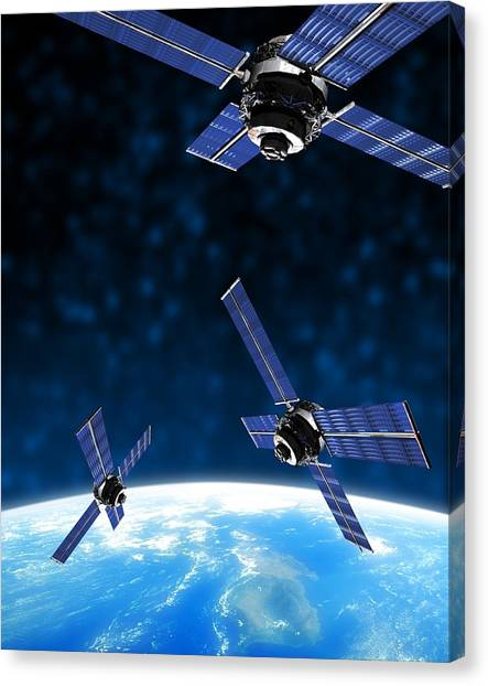 Satellites Orbiting Earth, Artwork Canvas Print by Victor Habbick Visions