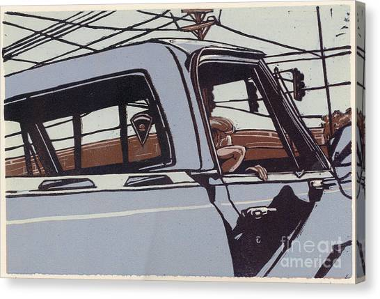 Saturday Afternoon - Linocut Print Canvas Print by Annie Laurie