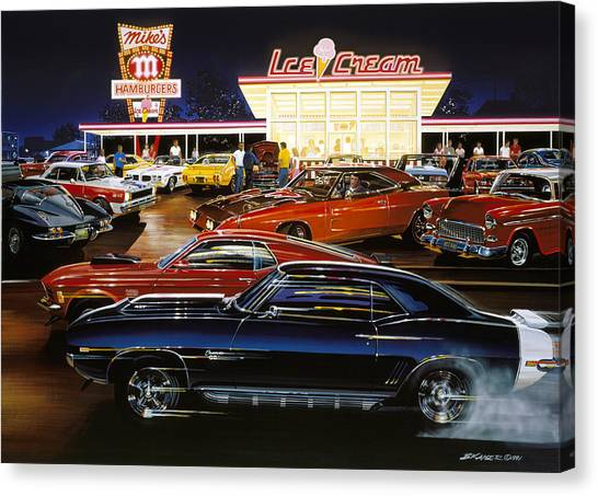 Fast Food Canvas Print - Saturday Night 1970 by Bruce Kaiser