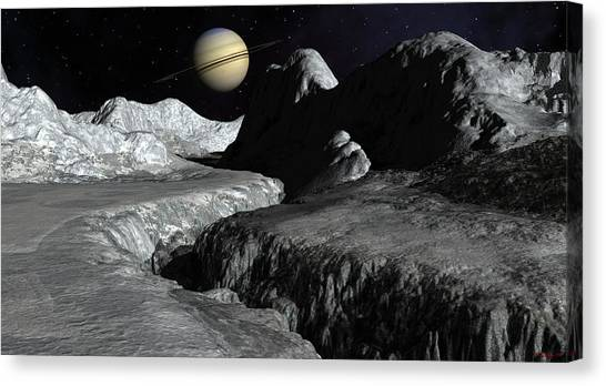 Saturn From The Surface Of Enceladus Canvas Print