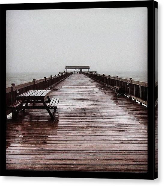 Fishing Canvas Print - #savannahgeorgia #tybeeisland #pier by  Abril Andrade Griffith