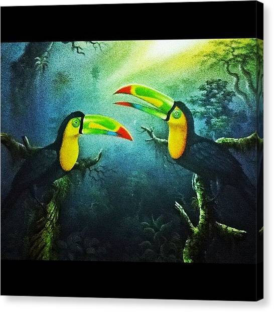 Tropical Birds Canvas Print - Saw This Painting Today... These Birds by Natalia Contreras