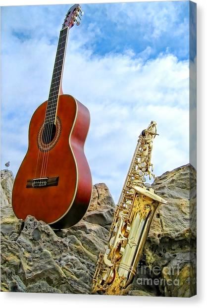 Sax And Guitar Canvas Print