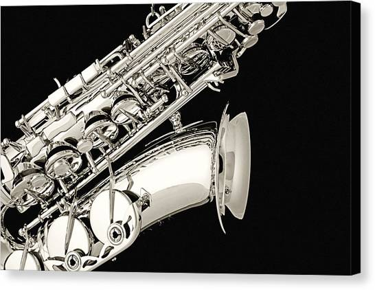 Saxophone Black And White Canvas Print
