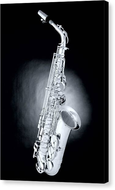 Saxophone Canvas Print - Saxophone On Spotlight by M K  Miller