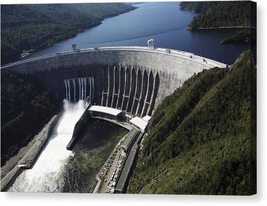 Sayano-shushenskaya Hydroelectric Dam Canvas Print by Ria Novosti