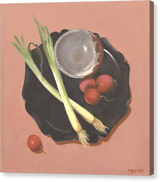Scallions And Radishes Canvas Print by Meredith Dytch