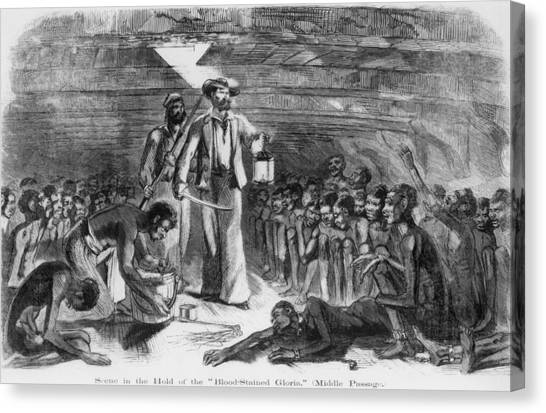 Scene In The Hold Of The Blood-stained Canvas Print by Everett