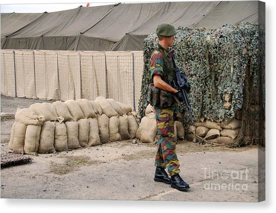 Green Berets Canvas Print - Scenery Of A Checkpoint Used by Luc De Jaeger