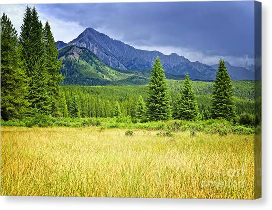 Alberta Canvas Print - Scenic View In Canadian Rockies by Elena Elisseeva