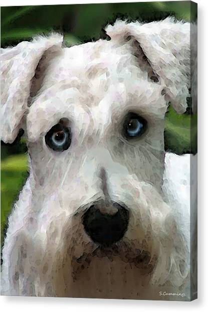 Schnauzers Canvas Print - Schnauzer Art - Smokey by Sharon Cummings