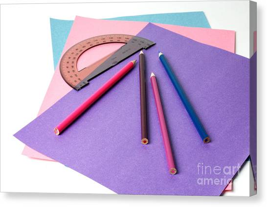 Protractors Canvas Print - School Supplies by Photo Researchers, Inc.