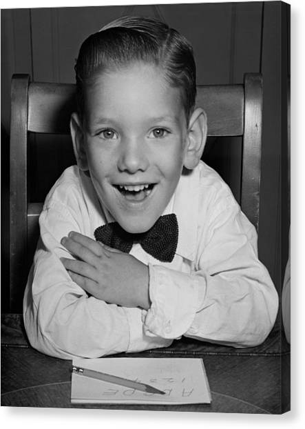 Schoolboy At Desk Canvas Print by George Marks