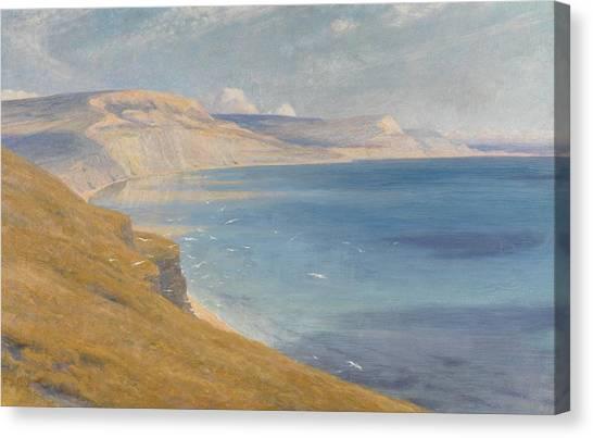 Ocean Cliffs Canvas Print - Sea And Sunshine   Lyme Regis by Sir Frank Dicksee