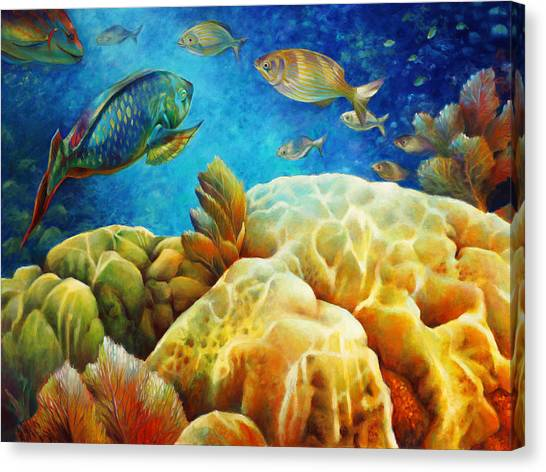 Parrot Fish Canvas Print - Sea Escape I - Color Queens by Nancy Tilles