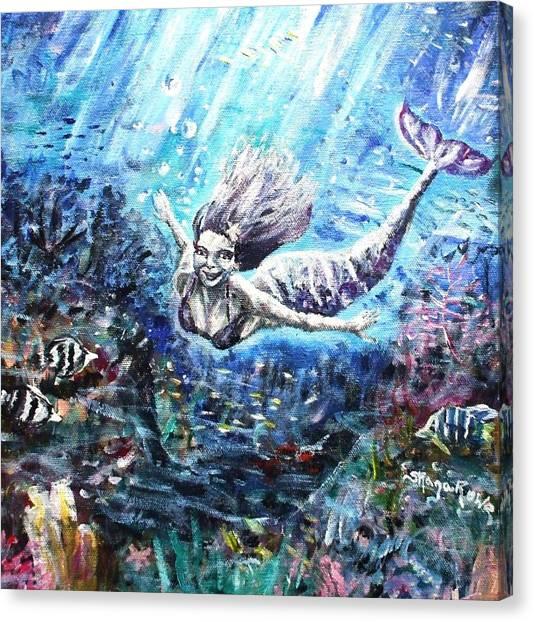 Angel Mermaids Ocean Canvas Print - Sea Surrender by Shana Rowe Jackson
