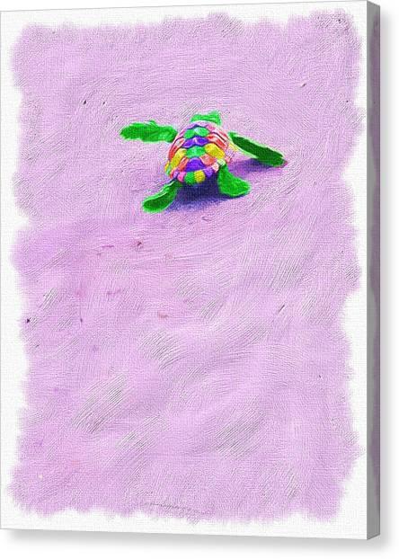 Sea Turtle Escape Canvas Print