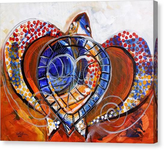 Sea Turtle Love - Orange And White Canvas Print