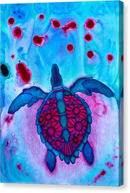 Sea Turtle Take Off Canvas Print