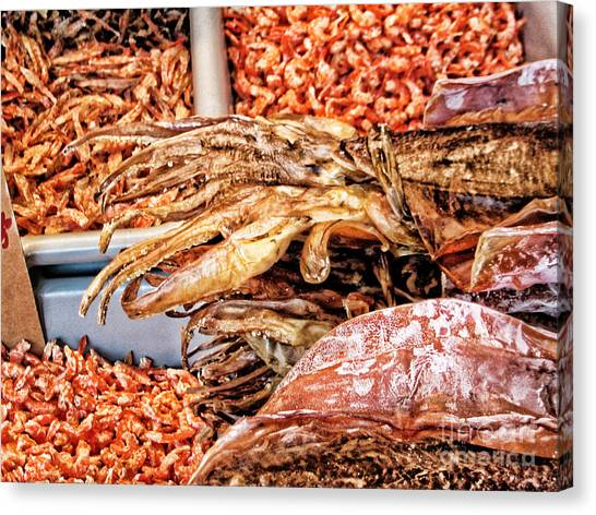 Seafood For Sale 2 In Chinatown Canvas Print by Anne Ferguson