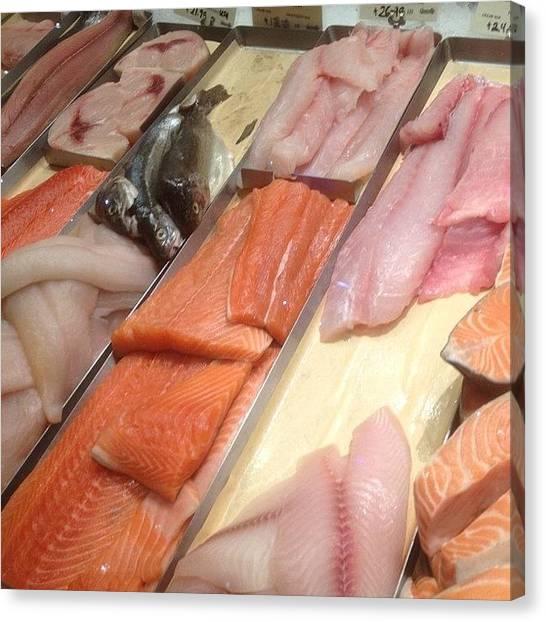 Ocean Animals Canvas Print - #seafood #fresh #tuna #salmon #food by Jonathan Bouldin