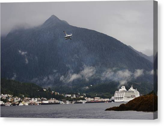 Tongass National Forest Canvas Print - Seaplane Over Ketchikan Harbor With One by Melissa Farlow