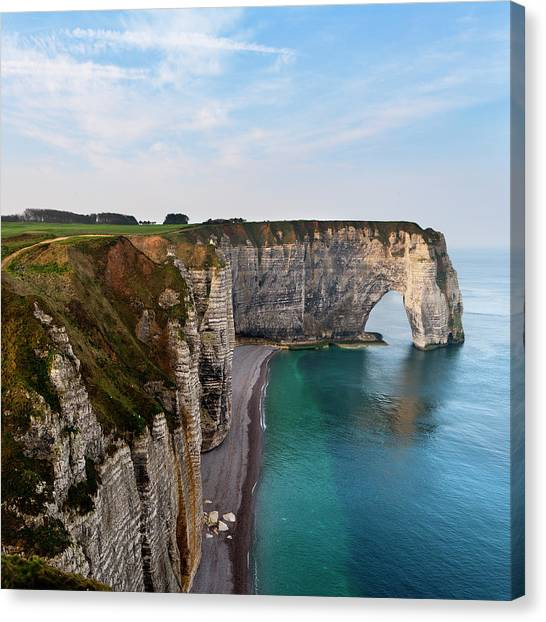 Etretat Canvas Print - Seascape With Cliff by Pilar Azaña Talán