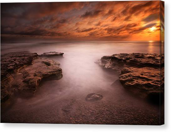 San Diego Canvas Print - Seaside Reef Sunset 3 by Larry Marshall