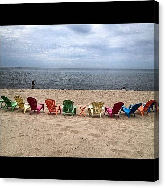 Lake Michigan Canvas Print - Seating Is Available.  View Is Amazing by Rex Pennington