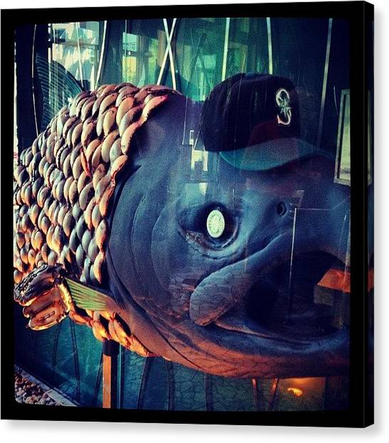 Seattle Mariners Canvas Print - #seattle #mariners #fish #baseball by Chris Schielzo