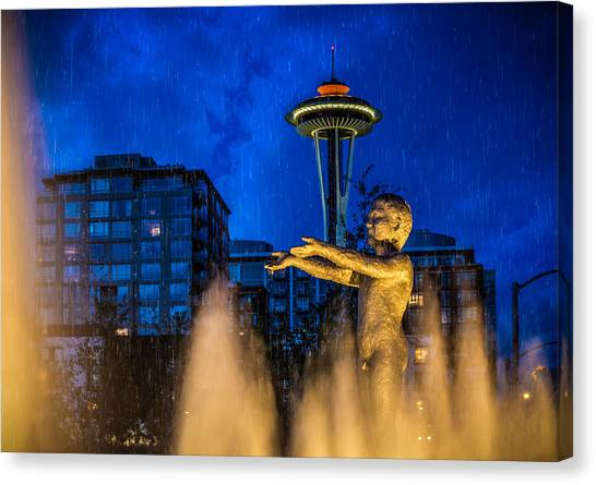 Seattle Rain Boy Canvas Print