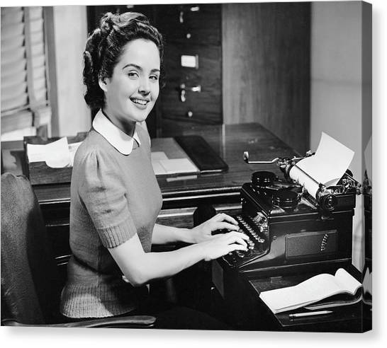 Secretary Typing Canvas Print by George Marks