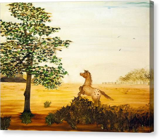 Canvas Print featuring the painting See Spot Run by Judy Hall-Folde