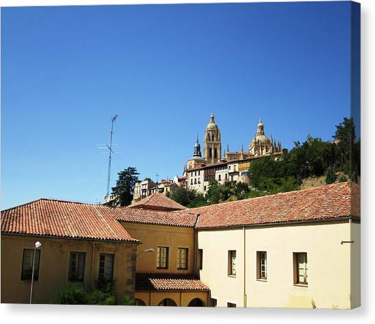 Segovia Castle Alcazar View Of Homes In The Hills Below With Blue Sky In Spain Canvas Print