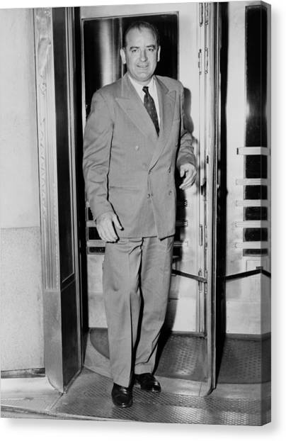 Senator Joseph Mccarthy, Leaving Canvas Print by Everett