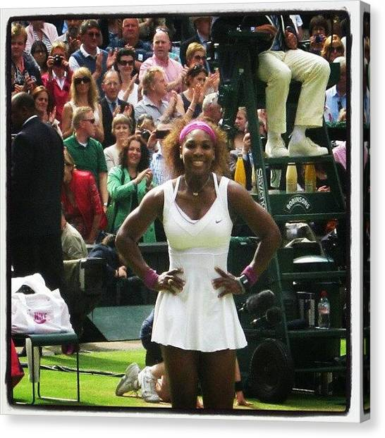 Tennis Pros Canvas Print - Serena Williams Wins The Ladies Final At Wimbledon 2012 by Lottie H