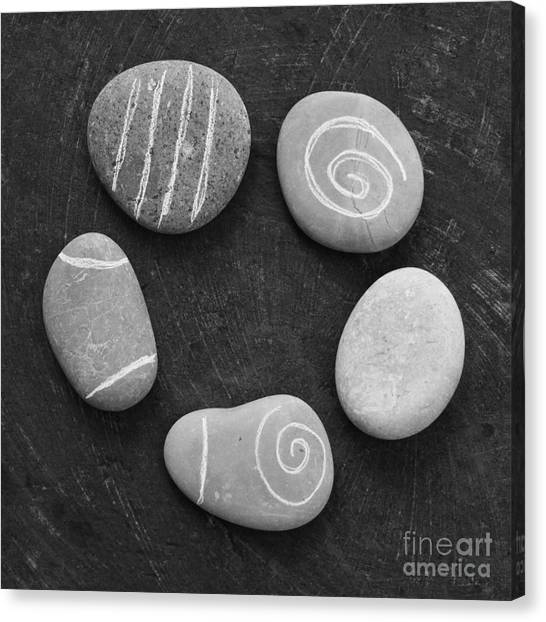 Black And White Art Canvas Print - Serenity Stones by Linda Woods