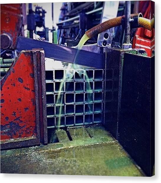 Machinery Canvas Print - Serious Cutting. #machines #steel by Matthew Vasilescu