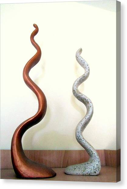 Serpants Duo Pair Of Abstract Snake Like Sculptures In Brown And Spotted White Dancing Upwards Canvas Print