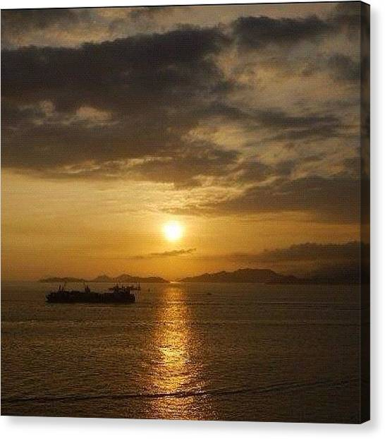 Om Canvas Print - Setting 2 #no-effect #sunset #sun #sea by Om Bhatia